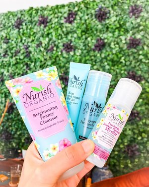 Nurish Organic ❤️ So happy i got a chance to try these @nurishorganiq brightening series product.. (thank you @clozetteid ) it is natural, its mild, got halal certification (perfect for my moslem friends).. the package consist : ✨Nourish Brightening Foamy Cleanser, Brightening Micellar Cleansing Water, Brighteing Day Cream, and Brightening Toner ✨ these series has 4 main ingredients that helps the brightening process on our skin, the are Frangipani 🌼 Hibuscus 🌺 Bilberry and Cucumber 🥒 Been using this series for a week now and it works well with my skin... it is mild on my skin, helps to cover my skin from sun (brightening day cream), clean sweats and oil from my skin after doing workout (but if you are putting lots of make up, i suggest to use milk cleansing/oil cleansing first). Visit their insta @nurishorganiq_id or website to find out more info and try their products! #nurishorganiqidreview #radiateyourtruenature #nurishorganiqid #clozetteid #clozetteambassador #nurishorganic #skincare #skincareroutine #skincaretips #skincareproducts #skincareblog #skincareblogger #fdbeauty #beautyblogger #beautybloggerindonesia #beautybloggerlife