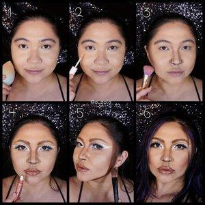 """#auzolatutorial Lady Gaga #rainonme makeup look tutorial is here! . Face: 1. Gunakan primer dan foundation. 2. Tambahkan concealer seperlunya. 3. Shading bagian wajah dan hidung based on wajah Lady Gaga. Rahangnya tegas dan hidungnya mancung agak besar pada bagian tengah. 4. Buat eyemakeup (next pic), lalu bentuk bibir menggunakan lip liner coklat biar bibir tampak lbh tebal. Lalu bagian tengahnya isi sama gloss warna nude.  5. Kalau kamu agak chubby kaya aku, buat achieve bentuk muka Lady Gaga mungkin harus tambah shading tegas disekitaran muka (aku pakai facepaint coklat). 6. Rambutnya di style ala music videonya deh. . Eyes: 1. Krn alis aku ketebelan dan agak jauh dr mata, makanya alis aku di """"ilangin"""" dulu. Pertama pakai lem/wax snazaroo buat lekatin rambut alis. 2. Tutup dengan concealer/foundie senada dng warna kulit. 3. Tap tap dng bedak. 4. Buat ngebentuk mata, aku menggunakan bbrp eyelid tape. Bagian depannya aku double krn eyelid Lady Gaga cukup visible bagian depannya. 5. Buat alis baru menggunakan warna coklat, yang lebih dekat ke arah mata. 6. Gunakan eyeliner/facepaint putih dikeseluruhan kelopak menbentuk point runcing pada bagian ujung luar. Dan tambah juga di ujung dalam mata hingga agak ke bawah sedikit. 7. Gunakan eyeshadow coklat pada bawah mata. 8. Gunakan mascara. 9. Tambahkan bulu mata palsu. Done!! . . . . #auzolamakeupcharacter #rainonmemusicvideo #stayhome #wakeupandmakeup #charactermakeup #arianagrande #ladygaga #rainonme #chromatica #makeupforbarbies  #indonesianbeautyblogger #undiscovered_muas @undiscovered_muas #clozetteid #makeupcoyote #makeupcreators #slave2beauty #coolmakeup #makeupvines #tampilcantik #mua_army  #fantasymakeupworld #100daysofmakeup #15dayscontentmarathon"""