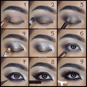 Previous look tutorial #auzolatutorial . 🎆Eyes🎆 1. Gunakan eyeshadow taupe/abu2 kecoklatan pada seluruh kelopak. 2. Tambahkan abu2 gelap pada ujung luar kelopak dan baurkan. 3. Tambah warna pearl pada kelopak dalam. 4. Gunakan eyeshadow cream glitter berwarna serupa/silver. 5. Blend sedikit dng bagian abu2 gelap. Lalu tambahkan glitter bubuk. 6. Gunakan abu2 gelap pada bagian bawah mata. 7. Gunakan eyeliner full. 8. Gunakan mascara. 9. Tambahkan bulu mata palsu atas dan bawah. . 🎆Face🎆 1. Gunakan concealer seperlunya. 2. Tutupi dengan foundation menggubakan sponge. 3. Gunakan shading, agak tajam dibagian pipi. 4. Gunakan blush on peach. 5. Tambahkan liquid highlighter biar lebih cling. 6. Glitter time! Dan gunakan lipstick hitam. . 🎆Glitter🎆 1. Menggunakan brush basah, tempelkan glitter silver pada bagian tengah wajah. 2. Tiban dengan glitter hijau. 3. Tambahkan dengan glitter biru dan ungu. 4. Shading & highlight bagian leher. Tambahkan sedikit glitter di atas highlight. . Done!! . Look inspired by @milk1422 face chart ❤ . . . . #holidaymakeup #holiday #holidayseason #glammakeup #blacklips #glitter #glittermakeup #wakeupandmakeup #makeupforbarbies  #indonesianbeautyblogger #undiscovered_muas @undiscovered_muas #clozetteid #india #indian #makeupcreators #indonesianbeautyblogger #slave2beauty #coolmakeup #makeupvines #indobeautysquad #indobeautygram #fdbeauty #mua_army #fantasymakeupworld #100daysofmakeup