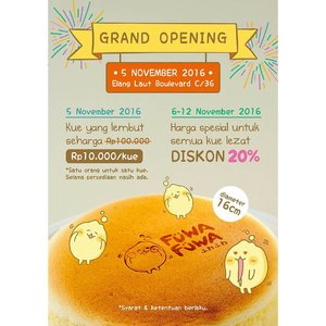 OMG! Finally Fuwa Fuwa store Grand Opening!!! Yay! Are you excited? I do, because it just became of of my 3 favorite cakes. Yes i only have 2 favorite before since im a bit picky about cake, but Fuwa Fuwa fluffly cake easily became my fave 😍😍 . .  So as you can see on the poster, they have a huge promotion going on on the grand opening, so make sure you come visit! . . P.s cake is limited to 500pcs only and that is Fuwa Fuwa's capacity for the day. As the cakes are freshly bake and Fuwa Fuwa is only to make 12 cakes every  15 minutes, you might need to queue a bit so be ready guys. . . Trust me, you wont regret it. Even my bf who doesnt really like cake like me loves Fuwa Fuwa and he even buy one (he never ever buy cake for himself). Anyway stay tuned for my review as well because this cake will definitely going on my blog! 😍😍😍 . #auzolalovestoeat #fuwafuwa #fuwafuwaworld #cake #fluffycake #fluffy #food #foodstagram #japan #yummy #lfl #l4l #likeforlike #clozetteid #bloggerceriaid #bloggerceria #blogger #japanesecheesecake #foodporn #foodie #beautyinfluencer #indonesianbeautyblogger #influencer #japancake #japanesecake #launching #comingsoon #cakestore #mouthwatering #cheesecake