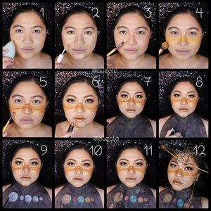 #auzolatutorial Planet Saturn Makeup look tutorial is here! . Face: 1. Prime and apply foundie. 2. Add some concealer & blend. 3. Shading cheek, nose, jaw & forehead area. 4. Add yellow blush all over the cheek & nose bone. 5. Using brown eyeshadow, create lines and blend downward using lighter brown. 6. Create eyemakeup and apply gold lipstick. 7. Paint the body using black facepaint/eyshadow. 8. Create stars (white dots) using white eyeliner/facepaint. 9. Draw planets using white eyeliner/facepaint. 10. Color the planets using eyeshadow/facepaint. 11. Add some glitter on and all around the planets. 12. I added gold eyeshadow and glitter all over my forhead before apply the accessories. . Eyes: 1. Draw brown eyebrow and add some gold glitter. 2. Apply yellow eyeshadow all over the eyelid. 3. Add brown eyeshadow on the outer corner and blend well. 4. Apply shimmer champagne eyeshadow on the brow bone. 5. Add gold glitter on the inner thru middle eyelid. 6. Apply black eyeliner. 7. Add brown on the lower lash. 8. Add gold eyeliner on the waterline. 9. Apply glitter on inner corner of the eye & below the eyeliner tails. 10. Apply mascara. 11. Put on falsies and you are done! . Inspo: the nose area inspired by @louistato . #auzolamakeupcharacter #dirumahaja #stayhome #wakeupandmakeup #saturn #saturnmakeup #planet #planetmakeup #universe #makeupforbarbies  #indonesianbeautyblogger #undiscovered_muas @undiscovered_muas #clozetteid #makeupcreators #slave2beauty #coolmakeup #makeupvines #tampilcantik #mua_army #fantasymakeupworld #100daysofmakeup #15dayscontentmarathon