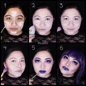 #auzolatutorial for @monsterhigh Elissabat makeup look is here ❤ . Face: 1. Pakai primer, campurkan foundation yang agak pucat dng facepaint/eyeshadow keunguan. Bisa tambah warna putih di mix kalau kurang pucat. 2. Blend merata. 3. Set dengan bedak/eyeshadow warna pink. 4. Contour wajah menggunakan warna abu2 keunguan. 5. Buat eyemakeup dan aplikasikan lipstick ungu gelap. 6. Done! . Eyes: 1. Buat alis berwarna hitam. Bisa pakai eyeliner kalau mau lbh kereng lagi. 2. Gunakan warna ungu pada keseluruhan kelopak & blend ke arah tulang alis. 3. Tambahkan ungu yg lebih gelap pada kelopak dan blend sedikit. 4. Gunakan sedikit ungu terang shimmer pada keseluruhan tulang alis. 5. Aplikasikan eyeliner putih pada bagian bawah mata. 6. Gunakan eyeliner memebentuk ilusi mata yg lebih besar. 7. Gambar bulu mata palsu pada bagian bawah mata menggunakan eyeliner. 8. Tambahkan sedikit ungu pada bagian bawah mata. 9. Gunakan maskara dan bulu mata palsu! Done ❤ . . . . #auzolamakeupcharacter #dirumahaja #stayhome #wakeupandmakeup #purple #purplemakeup #monsterhigh #makeupforbarbies  #indonesianbeautyblogger #undiscovered_muas @undiscovered_muas #clozetteid #makeupcreators #slave2beauty #coolmakeup #makeupvines #tampilcantik #mua_army #fantasymakeupworld #100daysofmatkeup #15dayscontentmarathon