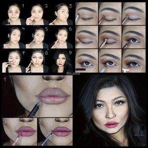 #auzolatutorial #auzolamakeupcharacter Kylie Jenner Makeup Tutorial.P.s I add as I goes for this, karena pas dicoba di kamera kaya masih kurang. Tp ya ga di foto buat tutorial lagi setelahnya krn udah buru2. Baca step no.9..🌟Face🌟1. Pakai concealer.2. Tutupi dng foundation.3. Outline wajah dng contour (kalo wajah udah kotak kaya Kylie tinggal shading aja).4. Pakai face paint hitam dibagian luar outline unt membentuk bentuk wajah yg baru.5. Contour wajah biar tirus cem Kylie, jidat jg krn Kylie jidatnya ga gitu lebar.6. Baking wajah dng powder buat menonjolkan bagian2 wajah (undereye, pipi, jidat, dagu).7. Gambar bentuk hidung baru dng eyeliner & contour.8. Tambahkan eyemakeup & lipstick. Buat anak rambut fake pakai eyeliner & face paint. Lalu tambahkan blush on.9. Sisanya, pakai tambahan stacking bulu mata palsu, lip color dirubah, alis+shading2 wajah dipertegas (tambahan facepaint hitam jg biar lebih kotak wajahnya), dan pas foto hidungnya dikempotin biar lebih Kylie hahaha😂.🌟Eyes🌟(Bisa beda sesuai bentuk mata masing2)1. Buat alis, agak menukik & ga terlalu tebal.2. Gunakan coklat muda di keseluruhan kelopak.3. Tambahkan nude pink di bagian depan & tengah.4. Blend bagian luar kelopak dng warna coklat yg lebih gelap.5. Tambahkan coklat tua pada garis kelopak biar lebih dalam & kelihatan garis kelopaknya.6. Pakai eyeliner tipis2, tambahkan eyeshadow coklat tua di ujung luar mata bawah & nude pink di bagian depan.7. Gunakan mascara, banyakin di bagian bawah, bisa tambah dng garis membentuk bulu mata menggunakan eyeliner.8. Kasih shimmery di waterline & ujung dalam mata.9. Pakai eyelashes. Saat foto2, eyelashesnya aku stacking lagi, nambah satu bulmat yg lebih tebal biar lbh kelihatan kamera, krn bulmat nya Kylie kan cetar tu..🌟 Lips🌟1. Pakai lip liner unt membentuk tampilan bibir berbeda.2. Pakai warna lipstick sesuai keinginan.3. Buay garis dalam bibir dng lipstik hitam/eyeliner hitam, biar terlihat lebih full. Terakhir warna lipsticknya aku ubah jadi lebih gelap dng