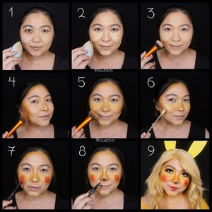 #auzolatutorial as Pikachu is here! . Face: 1. Prime and use foundie. 2. Put on some concealer. 3. Add a bit of powder to set. 4. Shading using a mix of orange brown and yellow shade. 5. Add a lighter yellow as blush all over the cheek and nose bone. 6. Put some golden highlighter. 7. Use red to create the circle bright blush. 8. Use eyeliner to create the nose. 9. Add some eyemakeup, put on the ear and matching clothes (or just draw it lol). . Eyes: 1. Put on brown color eyebrow (later add yellow color on top of it). 2. Add yellow eyeshadow/paint all over the lid. 3. Also add yellow eyeshadow on lower lash. 4. Slighly put some light shimmer yellow on brow bone. 5. Draw cat eyeliner. And also line your half lower lash. 6. Draw fake lower eyelash using eyeliner. 7. Add light yellow on waterline to create a bigger eye look. 8. Put on some glitter on inner corner of the eye and also at the outer point of the yellow color. 9. Add mascara and falsies, DONE! . Quite easy right? 😁 . . . . #auzolamakeupcharacter #dirumahaja #stayhome #wakeupandmakeup #yellow #pikachu #pokemon #pikachumakeup #makeupforbarbies  #indonesianbeautyblogger #undiscovered_muas #viral @undiscovered_muas #clozetteid #makeupcreators #slave2beauty #coolmakeup #makeupvines #tampilcantik #mua_army #fantasymakeupworld #100daysofmakeup