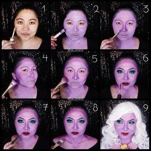 #auzolaTutorial  Ursula tutorial akhirnya baru kelar di grid lol. Nanti kalau sempat bikin videonya juga deh 😁 . 💜Face💜  1. Aku lebih suka pake concealer/foundie sebagai base sebelum menggunakan facepaint. 2. Gunakan facepaint ungu pada keseluruhan wajah dan leher. Aku mixed facepaint warna merah+biru+putih buat bikin ungu kaya gini. Bisa juga pakai eyeshadow ungu.  3. Shading bagian hidung dengan ungu yang lebih gelap. 4. Shading bagian pipi, rahang dan juga jidat. 5. Sapukan sedikit blush on berwarna pink. 6. Buat eyemakeup dan tambahkan lipstick merah gelap. 7. Buat beauty mark / tahi lalat di bawah bibir menggunakan eyeliner. 8. Warnai bagian bahu dan dada lalu shading dengan ungu yang lebih tua. 9. Gunakan wig putih dan kalung kerang. Done! . 💜Eyes💜 1. Buat alis tipis dan menukik dengan eyeliner hitam. 2. Gunakan eyeshadow biru muda pada kelopak dan jangan dibaurkan. Biarin ngeblok eyelid. 3. Gunakan juga warna biru dibagian bawah mata dan baurkan ke arah ujung luar mata. 4. Tambahkan biru tua pada ujung luar mata dan juga pada garis atas kelopak mata. 5. Tambahkan glitter biru pada tengah kelopak. Setelahnya gunakan eyeliner. 6. Gunakan maskara dan tambahkan buli mata palsu.  . . . . #disneyvillain #ursula #thelittlemermaid #ariel #poorunfortunatesouls #makeupforbarbies  #indonesianbeautyblogger #undiscovered_muas @undiscovered_muas #clozetteid #makeupcreators #slave2beauty #coolmakeup #makeupvines #tampilcantik #mua_army #fantasymakeupworld #100daysofmakeup  #crazymakeup #halloweencolor