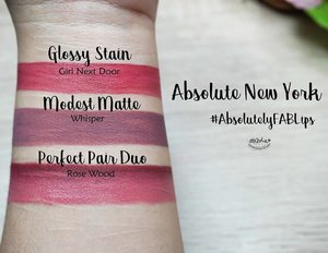 Did you know @absolutenewyork_id has 3 new lippy?? They are: Modest Matte, Glossy Stain and Perfect Pair Duo! . So last december i've got a chance to visit Absolute New York store at Grand Indonesia to check out these new babies with @clozetteid 💃 . I've tried one shade for each type and I love all three of them! Check out my full review and full swatch at www.rainbowdorable.com or click link on bio ❤ . . . . #auzolalipswatch #absolutenewyorkid #absolutelyfablips #clozetteidreview #clozetteid #anyxclozetteidreview #beautyundefeated #makeup #beauty #vegas_nay #wakeupandmakeup #anastasiabeverlyhills #hudabeauty #influencer #beautyinfluencer #pinkperception #dressyourface #fotdibb #blogger #indobeautygram #makeupforbarbies #indonesianbeautyblogger #undiscovered_muas #lipstick #lipstickjunkie #lipswatch
