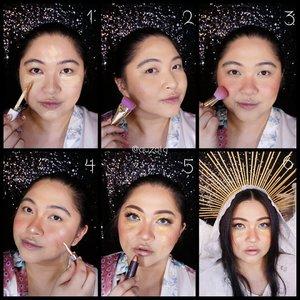 #auzolaTutorial is here! . 😇Face😇 1. Gunakan foundation pada keseluruhan wajah dan tambahkan concealer pada bagian2 seperti batang hidung, bawah mata, dagu dan jidat. 2. Shading bagian pipi, hidung, jidat dan juga tulang rahang. 3.Gunakan blush on pada pipi, batang hidung dan juga ujung hidung. 4. Tambahkan highlighter biar glowing. 5. Buat eyemakeup dan terakhir gunakan lipstick shimmer berwarna nude. 6. Tambahkan aksesoris biar look nya makin cocok! . 😇Eyes😇 1. Aplikasikan eyebrow pencil membentu alis yang tidak terlalu menikung tajam. Setelahnya gunakan eyeshadow berwarna coklat dan baurkan. 2. Tambahkan eyeshadow golden bronze dibagian atas eyeshadow sebelumnya dan baurkan. 3. Dengan concealer, block bagian depan kelopak mata. 4. Tambahkan eyeshadow gold glitter di atasnya. 5. Gunakan eyeliner putih pada bagian waterline. 6. Tambahkan eyeshadow coklat di bagian bawah mata. 7. Gunakan eyeliner biru glitter pada ujung dalam mata. 8. Dengan eyeshadow gold glitter, buat kaya aliran air mata pada bagian bawah mata sampai ke pipi. 9. Gunakan sedikit eyeliner hitam pada bagian bulu kata atas, gunakan maskara dan pasang bulu mata palsu. Done! . Untuk headpiece nya aku bikin sendiri menggunakan cable tie (bisa juga pakai tusuk sate, udah pernah aku share tutorialnya di blog). Sayapnya aku bikin juga pakai roncean bulu gitu beli di shopee  dan base kawatnya pakai yang sayap peri yg aku punya, tinggal lem aja pakai glue gun. Untuk kerudungnya aku pakai ujung mukena gitu 😁😁 . . . #beautefemmecommunity #makeup #collabmakeup #makeupcollab #7heavenly #7heavenlymakeup #heavenly #heavenlymakeup #angel #makeupforbarbies  #undiscovered_muas @undiscovered_muas #clozetteid #makeupcreators #slave2beauty #coolmakeup #makeupvines #tampilcantik #mua_army #fantasymakeupworld #100daysofmakeup