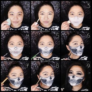 #auzolatutorial Skeleton Mask Makeup look! . Stepsnya nanti di update lagi hehe. P.s my eye turned red due some eyeliner malfunction lol. . . . . #wakeupandmakeup #skeleton #skull #skullmakeup #skullmask #gothic #goth #gothgirl #gothicmakeup #makeupforbarbies  #indonesianbeautyblogger #undiscovered_muas @undiscovered_muas #clozetteid #makeupcreators #slave2beauty #coolmakeup #makeupvines #tampilcantik #mua_army #fantasymakeupworld #100daysofmakeup