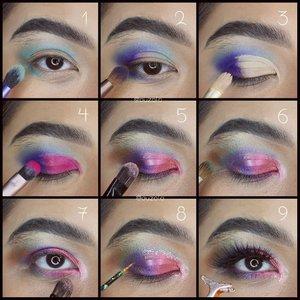 As promised, ini dia eye makeup dan fireworks tutorial dari look sebelumnya! SWIPE! . Pic 1: 1. Gunakan eyeshadow biru muda pada kelopak atas dan bagian bawah mata. 2. Tambahkan eyeshadow ungu diujung luar mata atas dan bawah, blend ke arah luar. 3. Blok kelopak dengan concealer. 4. Tambahkan eyeshadow pink di atasnya. 5. Bubuhkan glitter pink setelahnya. Tambahkan eyeshadow bronze & gold dibagian ujung luar mata, blend. 6. Gunakan eyeshadow hijau di garis lipatan kelopak untuk menambah gradasi warna. 7. Gunakan eyeshadow pink muda pada ujung dalam mata. 8. Tambahkan glitter di garis depan lipatan kelopak. 9. Gunakan maskara dan bulu mata palsu. . Pic 2: 1. Gambar garis membentuk percikan kembang api dengan eyeliner putih sebagai base. 2. Bubuhkan warna merah bronze di atasnya. 3. Tambahkan garis kembang api dengan warna ungu dan pink. 4. Tambahkan juga garis warna gold dan biru. 5. Buat beberapa garis putih dengan eyeliner cair/face paint. 6. Tambahkan glitter silver, gold dan ungu. . Pic 3: 1. Gunakan eyeshadow pink. 2. Tambahkan eyeshadow ungu sambil di blend. 3. Tambahkan juga eyeshadow biru dan bronze+gold, blend dengan warna lainnya. 4. Gambarkan kembang api seperti sebelumnya di bagian yg diinginkan. 5. Tambahkan glitter and go crazy! . Last but not least, don't forget the shimmering lipstik. I used @beautitarian yg metalic & @sephoraidn Rouge Shine for extra shimmer. Tambahin juga sedikit glitter dibagian tengah. . . . . #fireworks #newyear #2020 #Beautiesquad #BSDesemberCollab #BSCollab #BSBlinkMakeUpCollab#wakeupandmakeup #makeupforbarbies  #indonesianbeautyblogger #undiscovered_muas @undiscovered_muas #clozetteid #makeupcreators #indonesianbeautyblogger #slave2beauty #coolmakeup #makeupvines  #fdbeauty #mua_army #fantasymakeupworld #100daysofmakeup