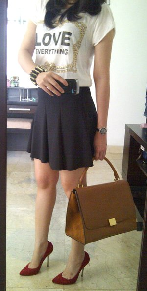 sunday with love  top zara skirt zara heels zara watch tag heuer bag celine cuff unbranded