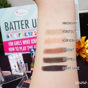 Full swatches of @thebalmid Batter Up! One of the latest trending makeup items is cream shadow stick because it'e travel-friendly, easy to use and more convenient . . . . . #thebalmid #thebalm #thebalmbatterup #swatches #thebalmbatterupswatch #eyeshadowstick #eyeshadow #makeupswatches #makeupjunkie #beautybloggerindonesia #beautyblogger #beautybloggerid #clozetteid #clozetteambassador #wonderfullyn #lynebeauty #립스틱 #뷰티 #뷰티크리에이터 #뷰티블로거 #핑크립스틱 #매트 #셀카 #립스틱 #매트 #아이섀도