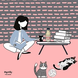 Morning... pagi ini ditemani @bandrek_r Bandrek Susu hangat, buku, dan kucing. Memulai hari ini penuh semangat, still creative.  #activities #blogger #bloggerlife #lifestyle #bandrek #bandrek_r #minumansehat #hidupsehat #clozetteid #canvaspainting