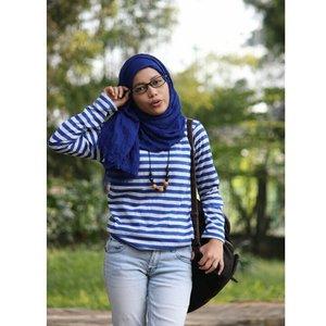 Nerd in the blue#ClozetteID #ootd #hotd #potd #hootd #stripeshirt #hijablook #hijabstyle #hijabgirl #nerd