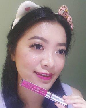 """[ #HELLOCOLOURPOP ]  Next one is  Ultra Satin Lip ~ Lock Diary (Deep Fuchsia)  To be honest, klo bukan karena Hello Kitty, aku pasti mikir"""" untuk beli shade ini 😂😂😂. Karena aku masih prefer warna nude untuk daily. But fuchsia is fun to play with! What do you think?  Teksturnya enak & nyaman di bibir, memang ga transferproof but leave a beautiful stain on lips.  Again, ini hasil PO dari @houseofmakeup  As I know, dia adalah ol shop yang menjual produk Colourpop dengan harga termurah. Go check it out! . . #MELpinkpalette"""
