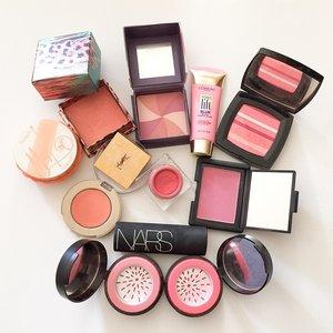 "What make you blush? 😆 here's some of my non-MAC blush collection - @benefitcanada ""Coralista""; @benefitcosmetics ""Hervana"", @lorealpariscan lift blur blush ""soft pink""; @chanelofficial blush du horizon; @benefitcanada ""majorette""; @lorealpariscan visible lift blush ""peach gold""; @yslbeauty cream blush no. 2; @narsissist ""Matahari""; @narsissist the multiple ""Riviera""; @smashboxcosmetics halo powder blush ""in bloom"" and ""in passion""——————————————————#clozetteid #kireimakeup #blush #blushes #cosmetics #makeup #fotd #motd #eotd #collection #makeupartist #makeupfanatic #beautyshareit #bbloggers #beautyblogger #torontoblogger #torontomua #torontobeautyblogger #hamont #hamiltonblogger #indonesianbeautyblogger #instabeauty #pink #peach #smashbox #loreal #nars #ysl #benefit"