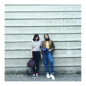 In frame with my amiana. Thankyou @dyandragnidar for capturing this unpredictable ootd. Can we called sporty chic style mi?  #Clozetteid #abmlifeisbeautiful #friendsinframe #abmlifeiscolorful #chictopia #acolorstory #starclozetter #sportychic #fashionbloggers #bomberjacket #lookbookindonesia #ootdindo