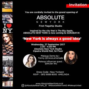 """New York is Calling! Celebrating the latest makeup brand @AbsoluteNewYork_ID studio opening in Surabaya at @CiputraWorldSby with special appearance of @YennyLemonade and gorgeous beauty influencer @WulanWu. Do you want to join?  How? Simply repost this image, put your comment in this post with """"I should attend this event because..."""" with #AbsoluteNewYorkSurabaya #KATHGiveaway and tag 3 of your friends . . I will only pick 10 lucky winners to attend this event with me!  The winner will be announced on Sept 27th, 2017 and you will get goodies from Absolute New York! . Let's Join! . #AbsoluteNewYorkID #Giveaway#GiveawayIndonesia #bloggerindonesia #lookbookindonesia #beautyguru #beautyvlogger #beautyblogger #clozetteid #bloggerstyle #fashionblogger #fashionstyle #fashionindo #indonesianbeautyblogger #indonesian_blogger #indonesiabeautyblogger #youtubeasia #youtuberindonesia #clozetteambassador #beautyindonesia #indobeautygram#stylehaul #cgstreetstyle #ggreptrend #ggrep #ootd"""