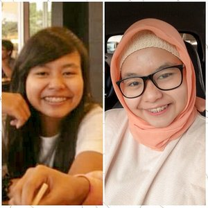 Here we goooo! My #10yearchallenge 😂😂😂 Temukan perbedaan antara 2 foto ini HAHAHA. Alhamdulillah ya sekarang sudah mengenal skincare 😂😂 I've glowed up dan sudah berhijrah (still a process tho). .So what's going on in this pic? .2009 : happy, single (with drama here and there erw), busy with college & a bunch of extra activities, skinnier (HAHAHA), long hair, rarely wear glasses & have big dreams ❤ kualitas kamera masih gitu deh 😂 .2019 : happy, married (with 1 kid), busy with housework, blogging, teaching and freelance stuff, fatter (HAHAHA), hijab, often wear glasses & still have big dreams ❤ hai kamera jahat yang bikin mulus + bantuan glowing dengan cahaya Illahi 😂 .Delete soon? We'll see. I am somehow in awe looking at my transformation mentally and physically. I wonder where I will be, what I will do and what I will become in the next 10 years. Cheers! .-------.#selfie #throwback #throwbacktuesday #tbt #2009 #nowvsthen #clozetteid #clozettedaily #hijab #hijabdaily #my10yearschallenge