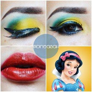 Bisa dibilang sich ini re-create yang gagal 😂 karena itu warna biru nya malah jadi hijau, ya gimana nggak hijau, ya wong kuning+biru=hijau.. Gpp deh.. Teteup diposting hehehe  Inspired princes #SnowWhite 👸 #Eyebrow @wardahbeauty Brown & #Pixycosmetics Black #Eyeliner Holika-Holika Jewel Light Waterproff - Dark Blue #Eyeshadow @sleekmakeup Ultra Mette V1 - Yellow & @sariayu_mt Papua - Blue Electrik #Highlighting @sleekmakeup - Light #Softlens EOS SweetHeart - Blue #Eyelahses @deyekoid - @sitiliza2013 Purnama #Lipstick @nyxcosmetics Round Lipstick - Snow White  #Clozette #ClozetteID #Beauty #Makeup #beautyhijab #urbandecay #WardahBeauty #NYXCosmetics #SleekMakeupLover #SleekMakeup #SariayuMT #BBloggers #BBloggerID #indonesianbeautyblogger #Beautybloggerindonesia #BeautiesID #FeatureMeDita #vegas_nay #Disney
