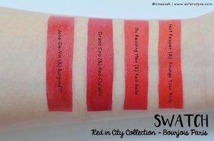 Pilih warna merah favorite mu di RED IN CITY COLLECTION by @bourjois_id . . DetIl reviewnya di www.sistersdyne.com atau click link bio . . #Clozette #Clozetteid #Makeup #Lipstick #lipstickjunkie #lippie #bourjois #bourjoisparis #Rougeeditionvelvet #Rougeedition12heures #semimatte #velvetmatte #matte #redincity #itsreddingmen #joliedevin #flatlays #bokeh #dreamy #bloggerreview #beautybloggerid #bbloggers #instamakeup #instabeauty #instalipstick #dasistersblog #swatching #swatchlipstick