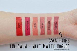 ✨Swatching @thebalm_cosmetics Meet Matte Hughes Lip Cream Minis . . #clozette #clozetteid #beauty #makeup #lippie #lipcream #matte #longlast #lipstickjunkie #thebalm #meetmattehughes #commited #sincere #charming #dedicated #loyal #instamkeup #instabeauty #bloggerreview #bbloggers #blogger #dasistersblog #travelkit #minilipstick #swatches #swatchig