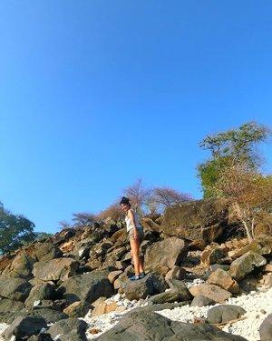 The climb is tough, but the view from the top is worth it .. . . . Berat ya Kalo baca quote-quote gitu.. 🤣 berat lagi ini nih! Kalo di Jakarta apa Jogja seringnya aku malas jalan apalagi waktu panas terik plus menanjak .. Tapi kalo di NTT beda urusannya 🤣 anaknya mendadak strong gituw 🤣 . . . Kira-kira jam2 siang, Sopiah dan rombongan sampai di Pulau Mekko .. Sudah 3x ai ke sana .. Maunya sih this time mau mampir ke pulau2 lainnya gitu .. Jadilah bisikin bapak nelayan untuk antar kami ke pulau sekitar .. . . . Ini adalah Pulau Nuha Wato Peni, pulau ini berjarak sekitar 15 menit dari Mekko .. Pulaunya penuh sama kerang-kerang dan bebatuan besar begini ... Ada 1 rumah nelayan yang ada di sini, tapi penghuninya sedang ke daratan jadilah sepi pi deh kemarin .. . .  Ini jam 3 siang, mataharinya masih strong banget! Macam gak peduli bakalan makin hitam 🤣 climb up aja terus, Sopiah! . . . Menikmati musim kering Adonara .. 💙 Novemberku tahun ini indah banget ya, Allah 😇 matur nuwun . . . Cerita tentang NTT kali ini beneran akan naik ke blog. Gaaaak wacana lagi 🤣 dan 2020 nanti, kalian bole join kok 🥰 #clozetteid #lifestyle #styletravel #travelinstyle #justtravel #explireadonara #explorenusatenggaratimur #sofiadewitraveldiary 📸 by Casio Exilim TR16