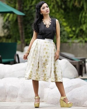 Day 15, February 2016.. woke up in the morning with full of positive energi are the best step to start the day.. The next you need to do is wearing the right dress! have a great Monday 😘  phoeboe top by @sofiadewi.co skirt by @toriseli  shoes by @iwearup . i love this tree high gold!! you can visit their webstore to check their collection www.iwearup.com   pic by : dhodi syailendra (for Kabare Magazine)  #sofiadewifashiondiary #sofiadewico #upsisterhood #clozette @clozetteid #clozetteid #clozettegirl #clozetteambassador #monday #ootd #ootdindo #lookbookindo #lookbookid #fashionporn #fashionworld #fashiondesigner #modernIndonesia #instafashion #instalike #wearitloveit
