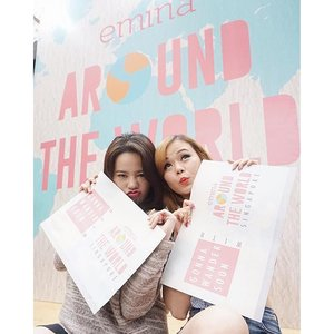 I had so much fun today playing the #EminaAroundTheWorld game. My partner in crime  was @marshablushoff. Because we're just those kind of girls who gets easily excited when we're #PlayingGame, #HavingFun. So @eminacosmetics rewarded us with a trip to #Singapore. Can't wait to wander around with #EminaCosmetic soon 😘🎉�😚 . . #clozetteid #emina #travel #travelling #todayevent #beauty #blogger #indonesianbeautyblogger #bloggerindonesia #beautyblogger #TravelWithJeanMilka #girls #makeup