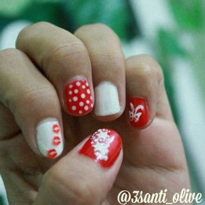 My #nailArt on #independeceDay #merahPutih #ClozetteId #red #white #nail #instabeauty #instadaily