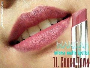 @wardahbeauty Intense Matte Lipstick ~~ 11. CHOCO TOWN. . Burgundish purple brown color for a statement look. . #wardah #wardahlipstick #wardahbeauty #makeup #makeupfreak  #wardahintensemattelipstick #lipstick #easybrownie #lipstickchick #lipstickaddict #lipstickfreak #clozetteid #blogger #bloggerindonesia #indonesianbeautyblogger #byfiarevenian #beautybloggerindonesia #blogger #beautyblogger
