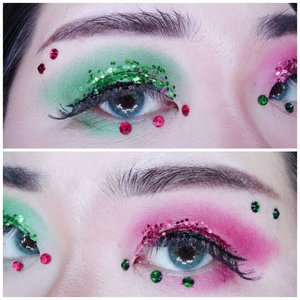 Details of my Christmas Tree look.  I used @viva.cosmetics cream eyeshadow for the red but personally i think it still looks a bit pink and not pure red like i want (i began to wonder if the problem is my skin tone 🤣, does it make reds look pink since i have a strong pink undertone) and it's also not super pigmented so i layered it with my usual red eyeshadow.  As for the super chunky glitter, i purposefully bought a glitter palette from a Chinese brand, i already expected them to be chunky honestly i wasn't expecting it to be THAT chunky! Definitely disco ball alert kind of thing. Plus its cream based and chunky cream based glitter is just not a great pair for hooded/tapered eyelid 🤣.  Still, i think i looked festive like how a Christmas Tree should be so i'm pretty happy with the result.  #clozetteid #christmaslook #christmastreemakeup #BeauteFemmeCommunity  #thematiclook #thematicmakeup  #sbybeautyblogger #makeup #ilovemakeup #clozetteid #sbybeautyblogger