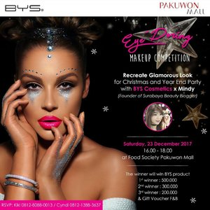 EYE-DORING MAKE UP LOOK Recreate Glamorous Look for Christmas and Year End Party with @byscosmetics_id x Mindy (Founder of @sbybeautyblogger )  Saturday, 23 Desember 16.00 - 18.00 at Food Society Pakuwon Mall The winner will win BYS product 1st winner : 500k 2nd winner: 300k 3rd winner: 200k  Open for public (it's FREE!) and we only have 5 seats left, DM me to register 😊  #bys #bysindonesia #byscosmetics  #makeupdemo #makeupclass #makeupcompetition #eyedoringmakeupcompetition  #clozetteid #makeup  #sbybeautyblogger #bloggerceria #beautynesiamember #blogger #bbloggerid #beautyblogger  #indonesianblogger #indonesianbeautyblogger #surabaya #surabayablogger #surabayabeautyblogger #influencer #beautyinfluencer #surabayainfluencer #influencersurabaya #makeupsession #event #infosurabaya #freemakeupdemo