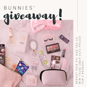 Yayyyy Bunny Sisters Giveaway time!!! Seperti udah aku janjiin sebelumnya, ada giveaway lagi dan hadiahnya makin cetarrr karena ini adalah collab sama Olin + our baby Stingy Bunny jadi hadiahnya makin banyak n seruuu! Ada makeup, masker, pouch, headband, cleanser, parfum, softlens sampe anting2 nya Stingy Bunny!  Rules nya ngga pernah susah kok kalo dari kita : 1. Follow me (obviously,  and don't unfollow after the giveaway or imma block ya!) @deuxcarls @stingybunny 2. Repost this banner and use #bunnies1stgiveaway (pemenangnya nanti random di cek dari hashtag so kalo mau repost lebih dari sekali untuk kesempatan lebih banyak menang bole banget!) 3. Comment DONE below 4. ‎You can only enter using your personal account (not online shop/giveaway account/etc) and make sure it's not locked. 6. ‎Giveaway is open until June 15th midnight (only for Indonesian resident or at least who owns Indonesian address) and i will announce the winner on the 18th (in IG stories). Good luckkk!  #giveaway #giveawayindonesia #giveawayid #bagibagihadiah #hadiahgratis #makeupgratis #giveaways #clozetteid #aksesorisgratis  #catokangratis #infogiveaway #sbybeautyblogger #bloggerceria #beautynesiamember #blogger #bblogger #bbloggerid #beautybloggerindonesia #beautybloggerid #influencer #beautyinfluencer #makeup #beauty #freeproducts #fashion #bloggerperempuan #produkgratis #gratisan