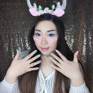 My nails by @menail.salon 's also created to support this look, i asked for pastel colored, wintry Christmas nails.  And for those who are still asking,  the contact lenses are Ice no 8 in Grey, i use it in all of my kawaii makeups 😭 .  #clozetteid #deermakeup #pastelmakeup #christmasmakeup  #BeauteFemmeCommunity  #thematiclook #thematicmakeup  #sbybeautyblogger #makeup #ilovemakeup #clozetteid #sbybeautyblogger #bloggerceria #beautynesiamember #bloggerperempuan #indonesianfemalebloggers #girl #asian  #bblogger #bbloggerid #influencer #influencersurabaya #influencerindonesia #beautyinfluencer #surabayainfluencer #jakartabeautyblogger #SURABAYABEAUTYBLOGGER #makeuplook #socobeautynetwork #startwithsbn