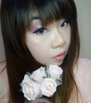 For the upcoming Valentine's Day,  i am once again collaborating with my @bloggerceriaid fellows and i come up with this look!  Initially i plan to do a saccharine-sweet baby pink look like how i usually do my makeup for the day of love,  but my hands took me to a different direction somehow and resulting in this slightly more dramatic, glittery eye makeup (which is the key focus of this look) - it is still highly wearable and lovely to celebrate V Day - be it with your man or with your gal pals!  Products used :  FACE :  1. Maybelline BB Cream 2. Etude House concealer 3. Marcks loose powder 4. Anna Sui compact powder 5. Maybelline eyeshadow as highlighter 6. Simply Stay Mustika Ratu compact powder as nose contour 7. Color Concept Blush On  BROWS : Zoya Cosmetics Brown eyebrow pencil  EYES : 1. Etude House eye primer 2. Miki Cosmetics palette  3. Wet n Wild Color Icon trio eyeshadow (Spoiled Brat)  4. Mukka Simplicity eyeshadow palette 5. Mizzu Liquid Eyeliner 6. Etude House Tear Duct Liner (Sunlight Tear)  7. Unbranded falsies 8. Maybelline Volum' Express Turbo Boost Mascara 9. RiRe eye pigment (A Pink)  LIPS : 1. Collection Lip Marker  #BloggerCeriaMakeUpCollaboration #ValDay #MakeUp #bloggerceria #bloggerceriaid #makeup  #blogger #bblogger #bbloggerid #clozetteid #clozettedaily #girl #asian #indonesianblogger #indonesianbeautyblogger #surabaya #surabayablogger #surabayabeautyblogger #sbybeautyblogger #allaboutmakeup #influencer #makeupaddict #makeuplook #valentinesday #vday #valentinesdaylook #valentinesdaymakeup #dramaticeyemakeup #glitteryeyes