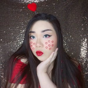 May your February is filled with love (and prosperity, since Chinese New Year's only 2 days apart from Valentine's day!) ♥️♥️♥️!#thematicmakeup #red #lovehearts #redhearts #valentinesmakeup#BeauteFemmeCommunity #SbyBeautyBlogger #clozetteid #startwithSBN #socobeautynetwork