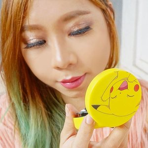 Look how cute this cushion foundation 😍 please excuse my chubby cheeks 😂😂 Read the full review of Tony Moly x Pokemon Mini cover cushion http://bit.ly/tonymolypokemon 😉 #pokemon #pikachu #tonymolyxpokémon #clozetteid