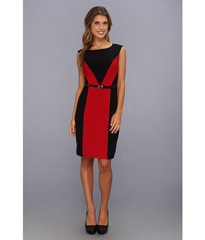 Ellen Tracy Colorblocked Crepe Dress Red/Black - 6pm.com
