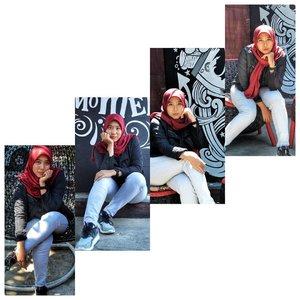 """Bukan gak bisa pose yang """"sopan"""", cuma ya spontan pose gini kalo udah mau difoto 😏. ⠀⠀⠀⠀⠀#clozetteid #fotolama #ootd #hijaber"""