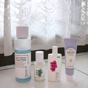 "Current Morning Routine May 2019☀  It's been a long time since I update my skincare products, I'm trying to finish all the opened products before finally opening the new ones and it also applies when testing new products. My testing period is now longer before giving the finalize thought, hope you guys don't mind😄 . . Product details: 🌴#KraveBeauty Matcha Hemp Hydrating Cleanser (nip) — I have reviewed this, check the post! 🌴#NormalNoMore Blue Therapy Anti Redness Toner — my current fave toner, feels moisturizing and look at dat blue! Who can resist? 🌴#KraveBeauty Great Barrier Relief — my one and only option for a quick minimal routine. It provides you healthy glow. 🌴#Dermatory Azulene Gel Cream — I have emptied the first tube and still haven't made a dedicated post to it lol. It's a great gel cream even though it's not that ""light"" in my opinion. 🌴#KraveBeauty Beet the Sun* — I am very happy it doesn't break me out. I just wish they come in bigger size with same price.  Will share the night routine too this week. Promise you, I'll update my routine as soon as possible. — *Gifted PS: This review is based on my personal experience, all opinions are not influenced by the brand. But YMMV🙏 . . #gegeciellaskincare #abbeauty #skincare #koreanskincare #abbeatthealgorithm #clozetteid #idskincarecommunity #abcommunity #koreanbeauty #beauty #kbeauty #asianskincare #asianbeauty #morningroutine #skincareroutine"