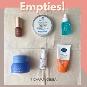 #EmptiesCha SkinCare yang empties di bulan April ini. Beberapa sudah ada yang repurchase lagi tentunya seperti si Camomile Balm @thebodyshopindo yang kategori can't live without since 2018😍😍😍, dan juga  Moisturizer Ceramic Skin Saviour @somethincofficial yang sudah fix repurchase karena nyaman untuk segala kondisi kulit dan bisa di mix sama oil serum✅. Walaupun belum semua tapi produk yang empties ini di dominasi #cleanbeauty squad.   #IchaMauCerita Skin Preferences 💕Types: Combination to OILY 💕 Condition: Sensitive and redness is my bestfrend👻 💕 Interest in Plant Based Ingredients and Support Cruelty Free✅  Setelah Empties pastinya siap-siap di pick up jasa angkut sampah ni babes💛 Yess I'm on my way to be responsible beauty blogger😘 See you on next #EmptiesCha  #IchaMauCerita #emptiesfavourite #skincare #sensitiveskincareproducts #sensitiveskin #clozetteid