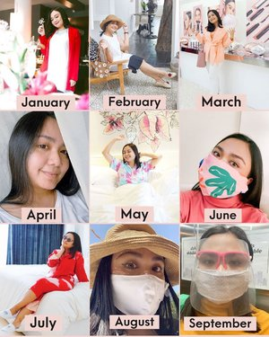 Month by month wrap up in 2020 💋and it's 3 months left 🤔😘Yess there is significant differences from the first row to the third row 👻😁 I'm getting used to my face shield right now💋..How was your 2020 so far babes😘Dimanapun kalian saat ini aku yakin kita berjuang untuk suatu hal yang sama..dengan cara yang berbeda beda💋Jangan lelah buat percaya segala sesuatu hal yang terjadi pasti ada akhirnya. Termasuk Miss Rona ini babes💕Selamat hari minggu lets enjoy our Sunday...#ichamaucerita #ceritaperjalananicha #2020 #newnormallife #positiveenergy #positivemindset #weekendvibes #clozetteid #bestnine2020
