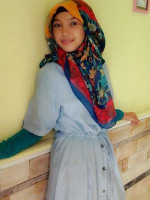With colorful hijab :)