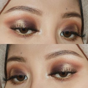 """Today's look. 😃 This look completes my experiment in 5 looks with The Balm Nude Beach Pallette. ☺️ And I dinally used the purple! The tutorial is on my highlight story labelled as """"Look"""" (the one with the 👑 as the cover) and I will post more details on the blog! 😁 #clozetteid #makeup #starclozetter #motd #eotd #bblogger #thebalmcosmetics"""