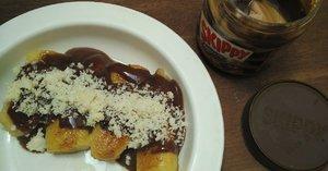 Pisang Panggang dan Milkshake Berbahan Skippy Chocolate Stripe Peanut Butter