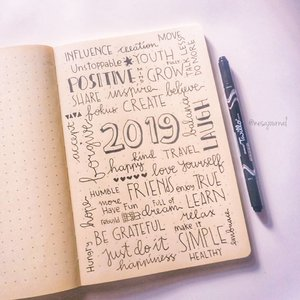 What's your word in 2019? 😁  #studygram #stationary #activity #art #design #studygramindonesia #typography #writing #lettering #daily #reminder #photooftheday #newyear #studying #hobby #bujoindonesia #bulletjournal #traveljournal #bulletjournaling #clozetteid #studyinspiration #photography #resolution #quotes #word #flaylay #journal #bujo #nesajournal #2019
