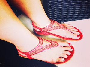 Red for relaxing Sunday @clozetteid #cotw #shoefie #clozetteid