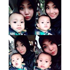 Selfie with Rafa.. Otw ke Apotek 😂 doang.. #ClozetteID #beauty #motd #baby #babyboy #instababy #babyoninstagram #TagsForLikes #mybabyboy