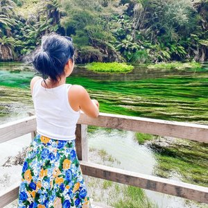 """Candid non Candid pose at Blue Springs, Putaruru. Macam makeup no makeup lah yaa~🔛Read till you drop🔛 #EAAAABelum pernah ngeliat mata air secakep ini. 😍 Blue Spring, it's located only 5km North of Putaruru. Around 2 hours driving from Auckland city. The stunning beautifully clear waters and the vibrant green grasses are really a sight to behold. The spring is fed from the Mamaku Plateau where the water takes up to 100 years to filter through, that makes the water is so pure and clean that it produces a beautiful blue colour while being virtually clear. Blue Spring was a hidden piece of paradise. The one that I visited is definitely restricted for swim nor to record with drone, but you could walk to enjoy the scenery around on the walk trail. I guess there is other part of Blue Springs where you can swimming, close to White Roads. Unfortunately I didn't get a chance to get there because It was too late and the weather unfriendly. However, I quite enjoyed walk on Te Waihou Walkway. Even though only for 30 minutes. I wasn't planning to finish the route 🤣What I like from this place is also provided with couple of toilets available for visitors to useAll I can say while walked by the river just saying: """"waaawww… its so beautiful! Waaawww… waaaww… waawwww… and never stop!"""" If the border is finally open and you able to travel here, I think this should be on your bucket list. The best season to visit this place on summer, I guess. And, this is free entrance, btw. Buat yang penasaran suhu airnya gimana, 🗣 𝗕𝗔𝗚𝗔𝗜 𝗠𝗘𝗡𝗖𝗘𝗟𝗨𝗣 𝗝𝗔𝗥𝗜 𝗝𝗘𝗠𝗔𝗥𝗜 𝗕𝗔𝗡𝗧𝗘𝗧 𝗠𝗨𝗡𝗚𝗜𝗟 𝗦𝗘𝗣𝗘𝗥𝗧𝗜 𝗣𝗘𝗧𝗘 𝗜𝗡𝗜 𝗞𝗘 𝗔𝗜𝗥 𝗘𝗦 𝗗𝗔𝗥𝗜 𝗞𝗨𝗟𝗞𝗔𝗦, 𝗝𝗔𝗘𝗡𝗔𝗕!—————————————————————————#Nona_HitamPahit #clozetteID #beautyblogger #beautyjournal #bluesprings #capturenz #aucklandblogger #NZmustDo #capturenz"""