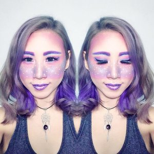 Get this makeup inspiration from @melodyflausch with her beautiful ✨ Galaxy Sparkle ✨ but mine end up become 🦄 Unicorn 🦄 😅😅😅 . . . #ladies_journal #clozette #clozetteid #makeup #makeuplook #beauty #bblogger #beautyblogger #asian #asiangirl #purple #galaxymakeup #unicornmakeup #galaxy #unicorn #indobeautygram @indobeautygram #makeupinspiration